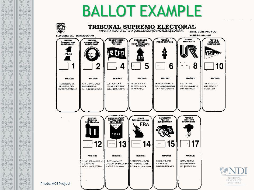 BALLOT EXAMPLE Photo: ACE Project