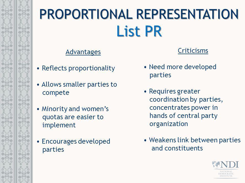 PROPORTIONAL REPRESENTATION List PR