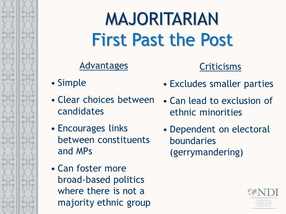 MAJORITARIAN First Past the Post