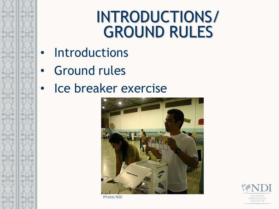 INTRODUCTIONS/ GROUND RULES Introductions Ground rules