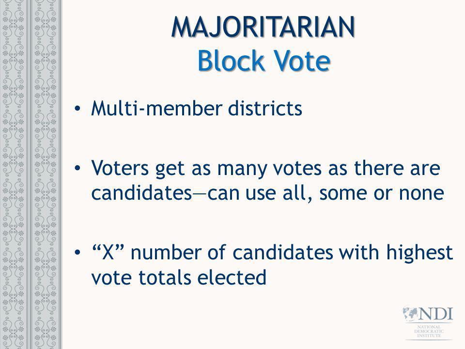 MAJORITARIAN Block Vote