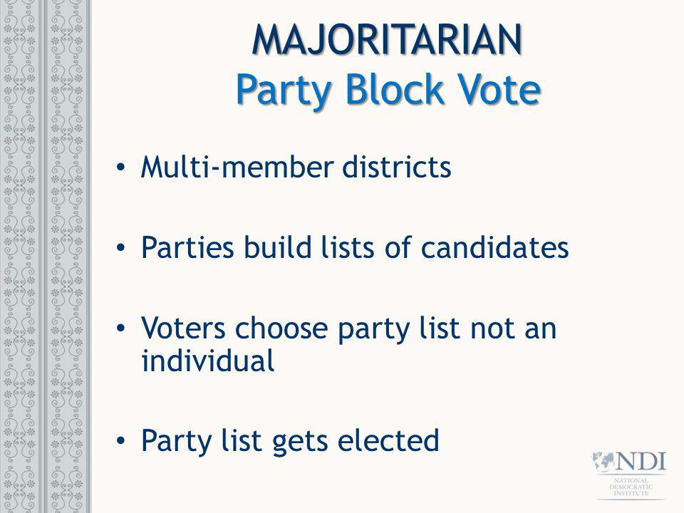 MAJORITARIAN Party Block Vote