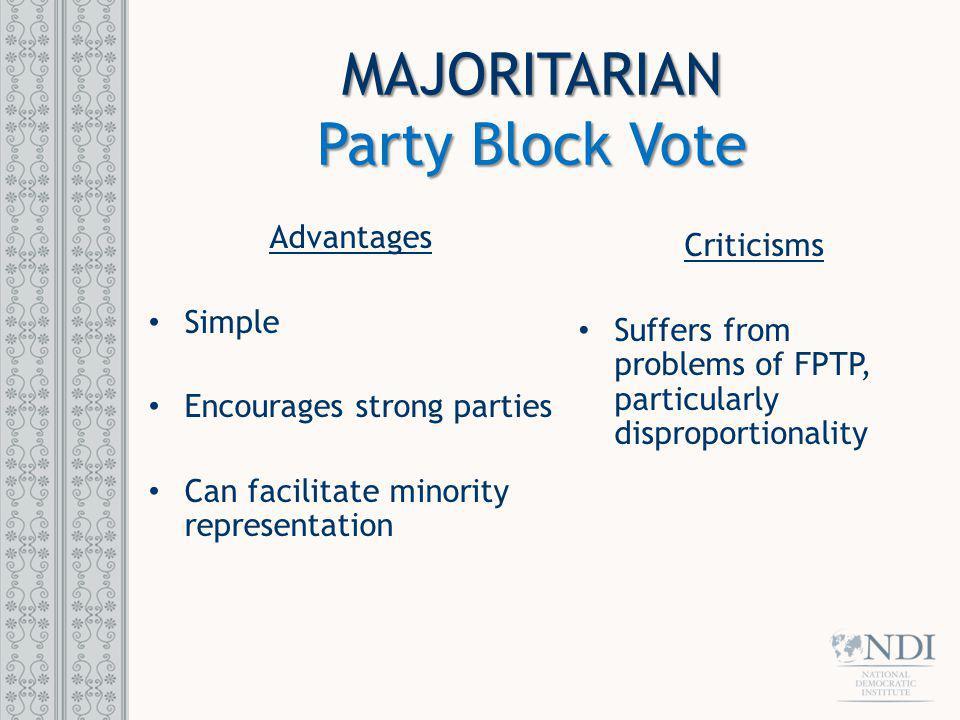 MAJORITARIAN Party Block Vote Advantages Criticisms Simple