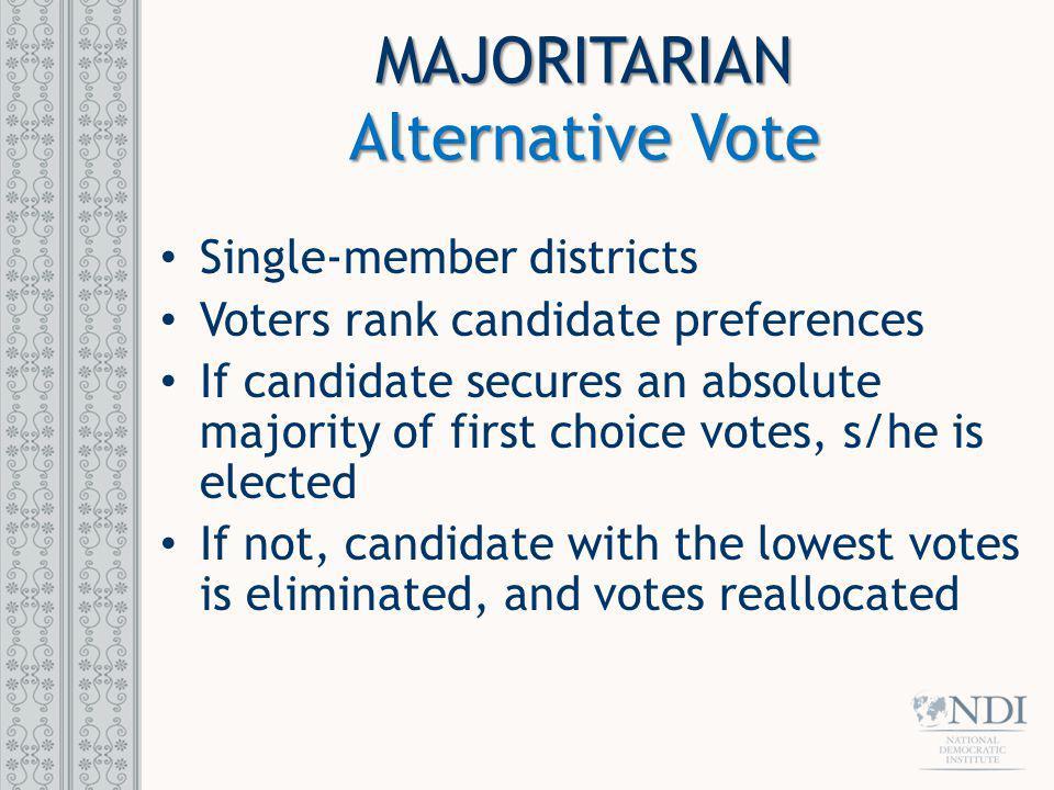MAJORITARIAN Alternative Vote Single-member districts
