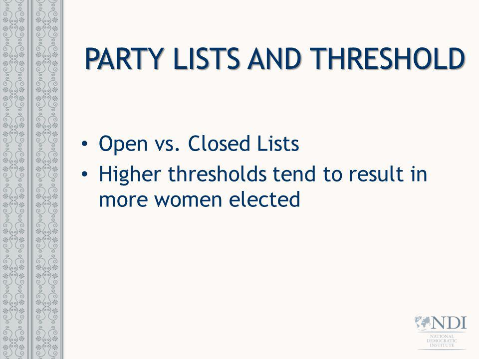 PARTY LISTS AND THRESHOLD