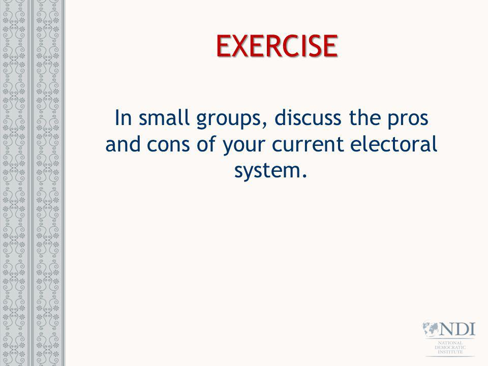 EXERCISE In small groups, discuss the pros and cons of your current electoral system.