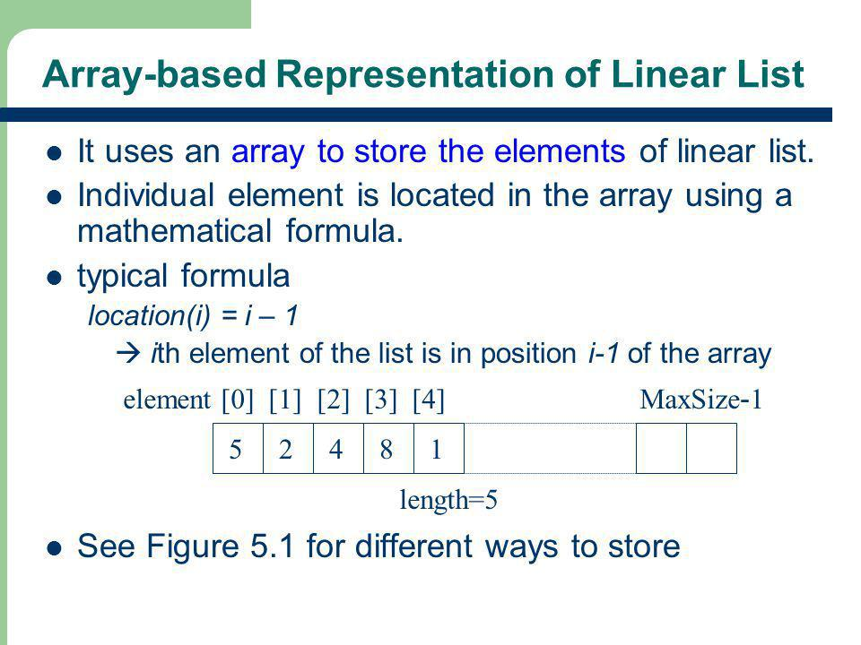 Array-based Representation of Linear List