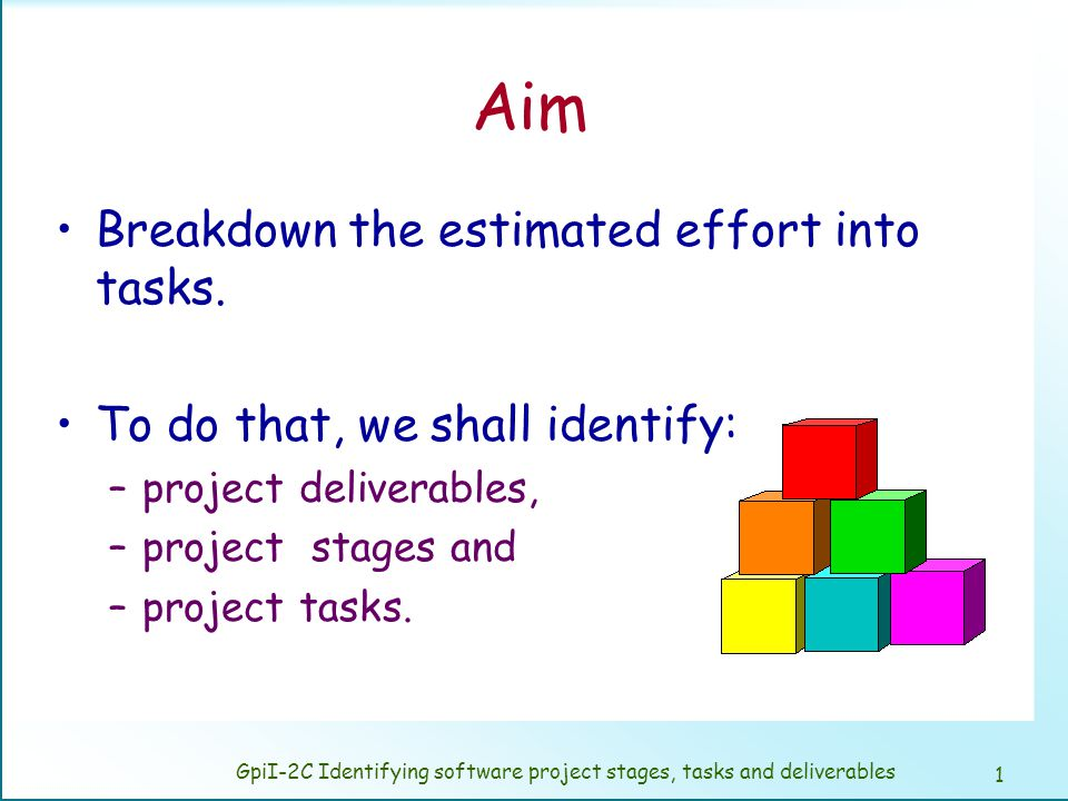 GpiI-2C Identifying software project stages, tasks and deliverables
