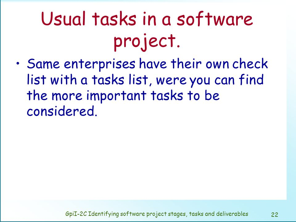 Some ideas on the software project breakdown.