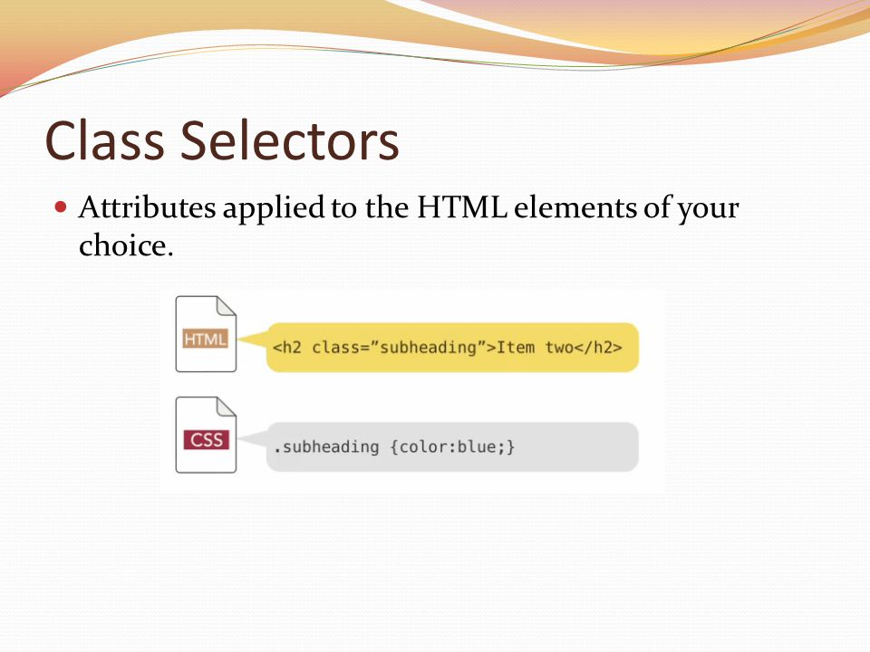 Class Selectors Attributes applied to the HTML elements of your choice. Notice the . In front of the class name (the class name is your choice).