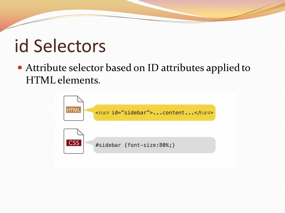 id Selectors Attribute selector based on ID attributes applied to HTML elements.