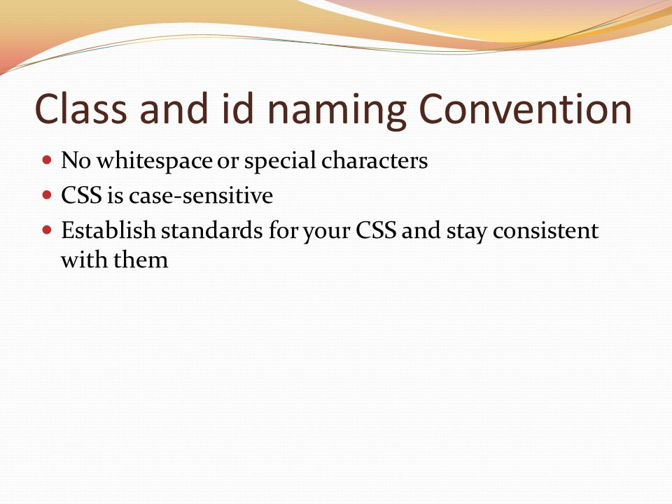 Class and id naming Convention