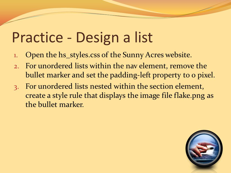 Practice - Design a list