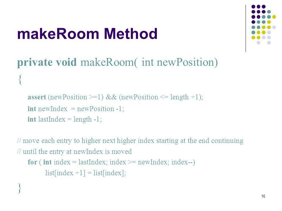 makeRoom Method private void makeRoom( int newPosition) {