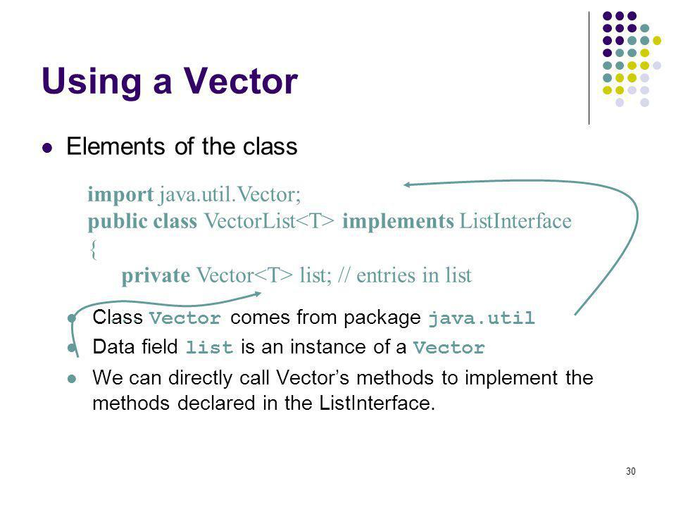 Using a Vector Elements of the class