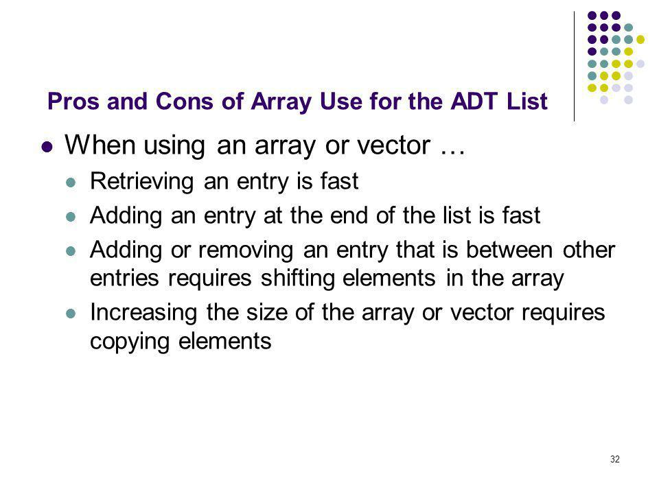 Pros and Cons of Array Use for the ADT List