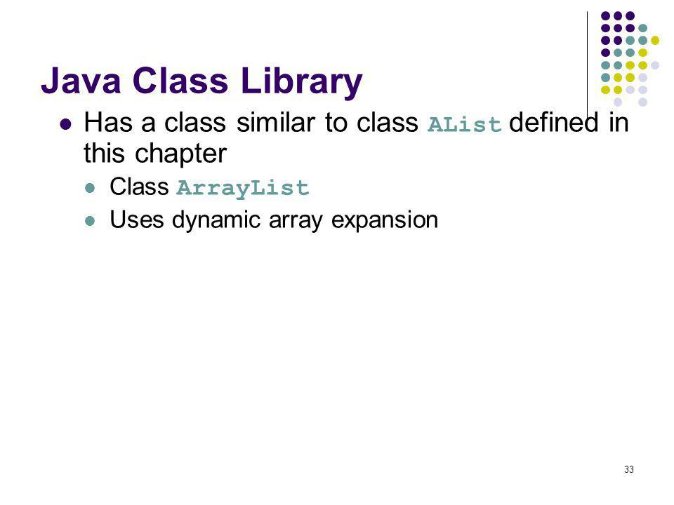 Java Class Library Has a class similar to class AList defined in this chapter.