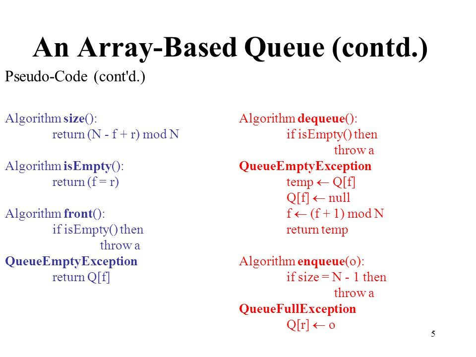 An Array-Based Queue (contd.)