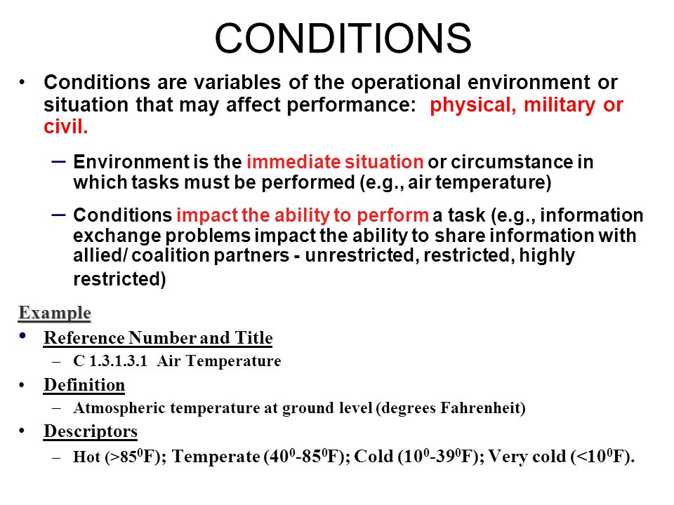CONDITIONS Conditions are variables of the operational environment or situation that may affect performance: physical, military or civil.