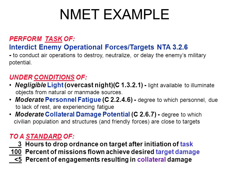 NMET EXAMPLE Interdict Enemy Operational Forces/Targets NTA 3.2.6
