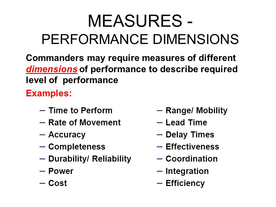 MEASURES - PERFORMANCE DIMENSIONS
