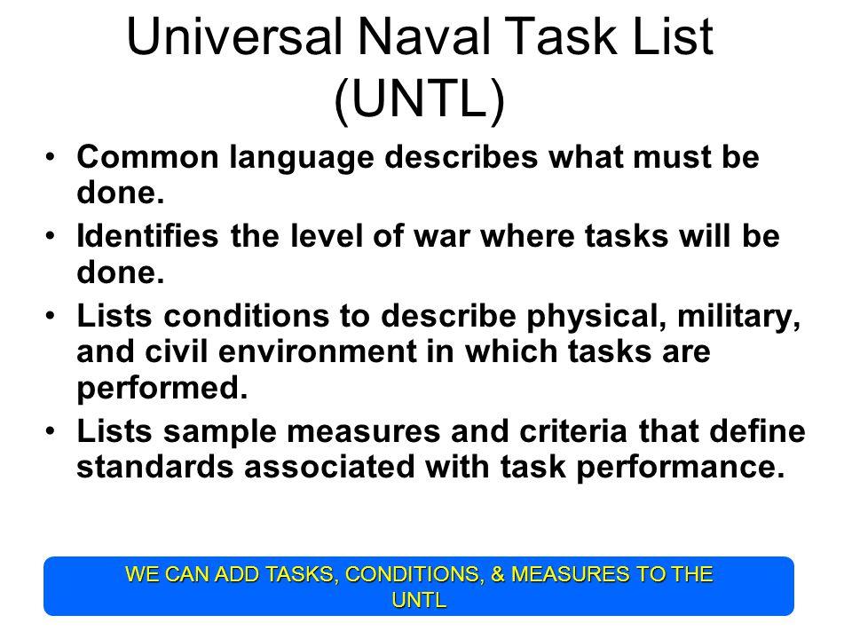 Universal Naval Task List (UNTL)