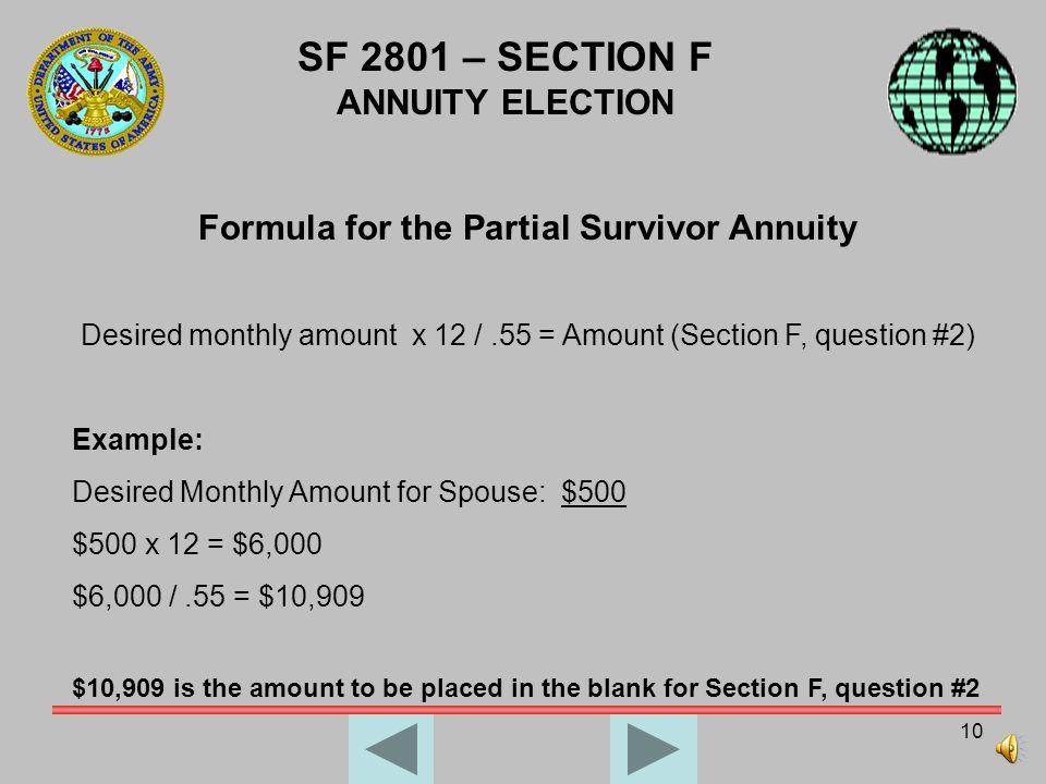 Formula for the Partial Survivor Annuity