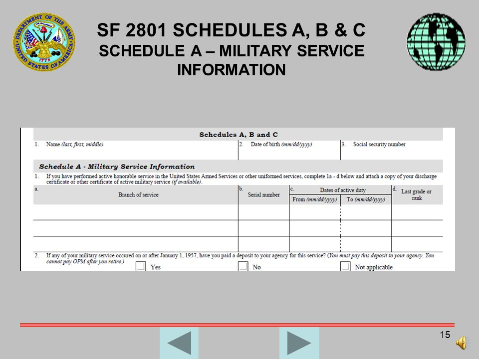 SCHEDULE A – MILITARY SERVICE INFORMATION