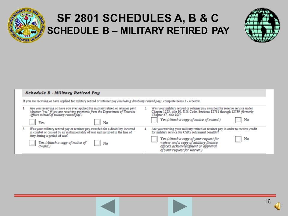SCHEDULE B – MILITARY RETIRED PAY