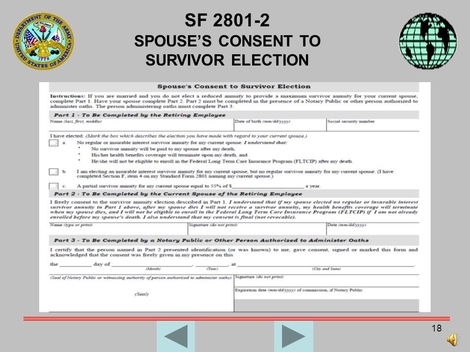 SF 2801-2 SPOUSE'S CONSENT TO SURVIVOR ELECTION