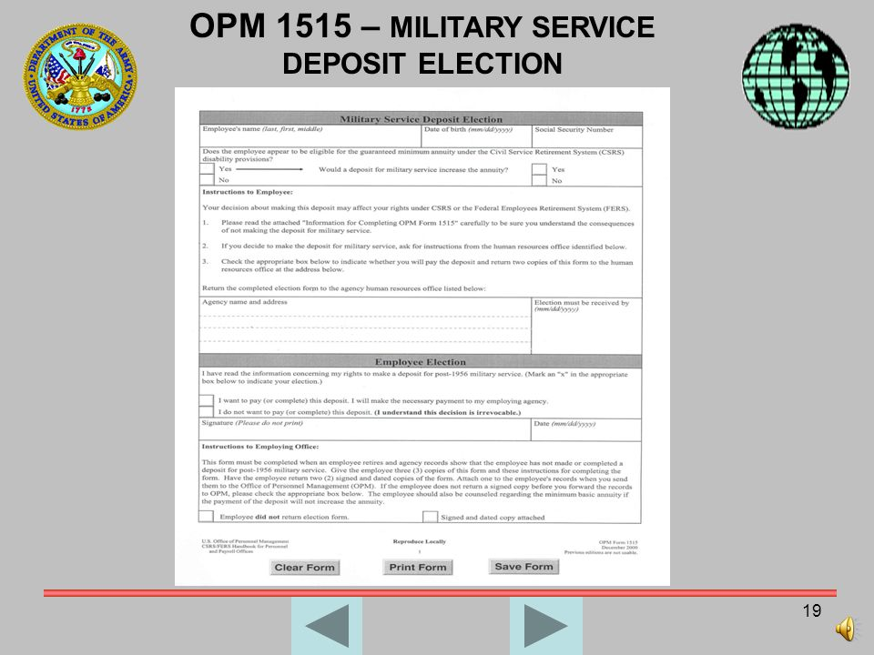 OPM 1515 – MILITARY SERVICE DEPOSIT ELECTION