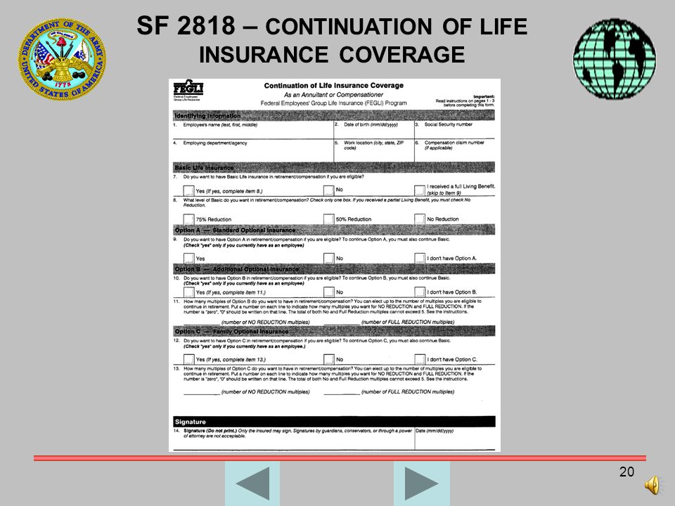 SF 2818 – CONTINUATION OF LIFE INSURANCE COVERAGE