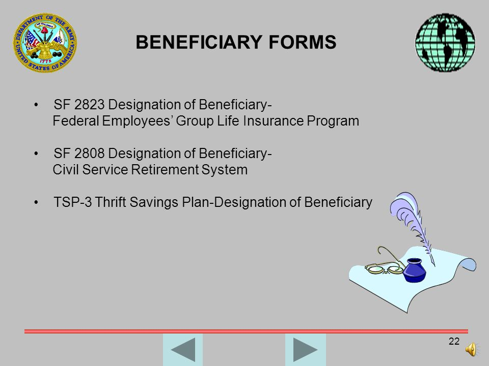 BENEFICIARY FORMS SF 2823 Designation of Beneficiary-