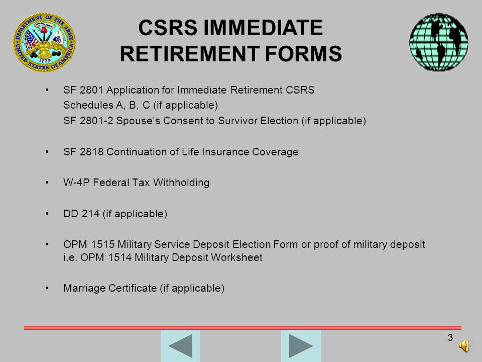 CSRS IMMEDIATE RETIREMENT FORMS