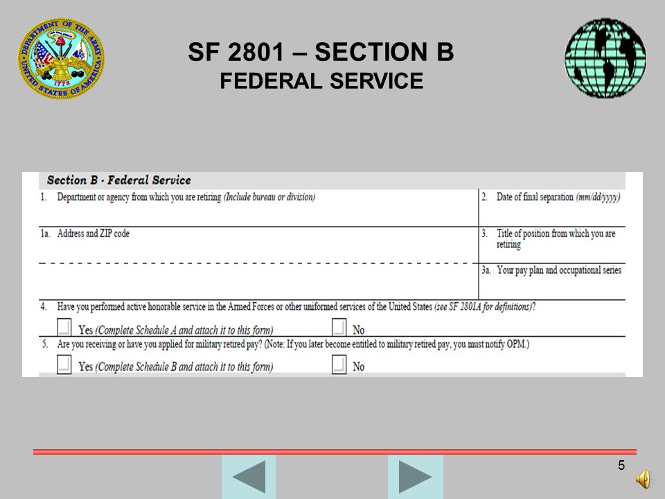 SF 2801 – SECTION B FEDERAL SERVICE