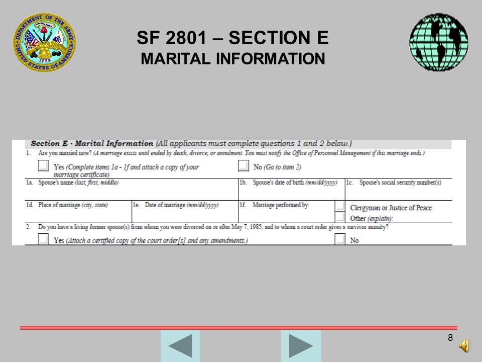 SF 2801 – SECTION E MARITAL INFORMATION