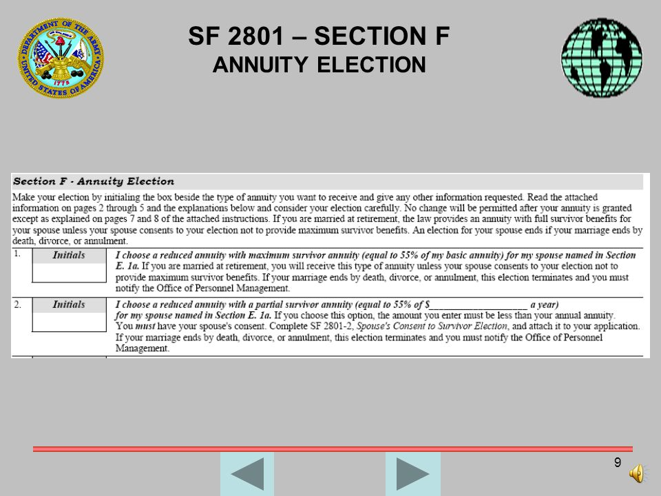 SF 2801 – SECTION F ANNUITY ELECTION