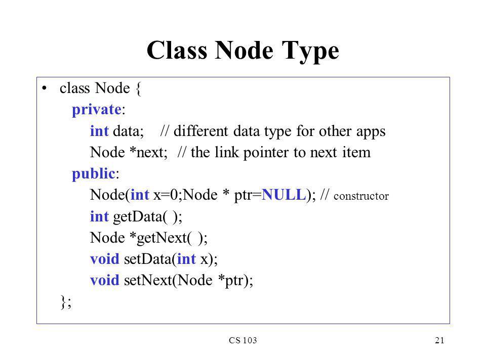 Class Node Type class Node { private: