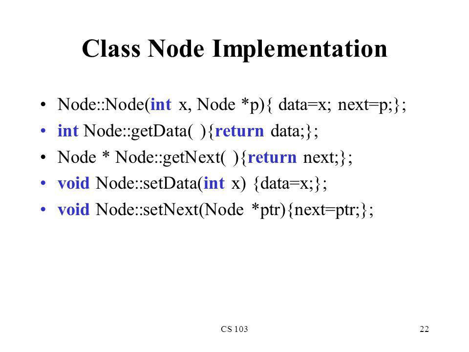 Class Node Implementation