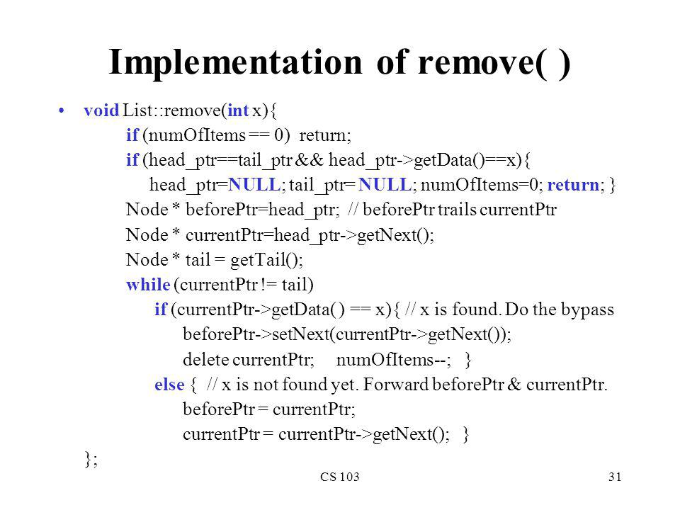 Implementation of remove( )