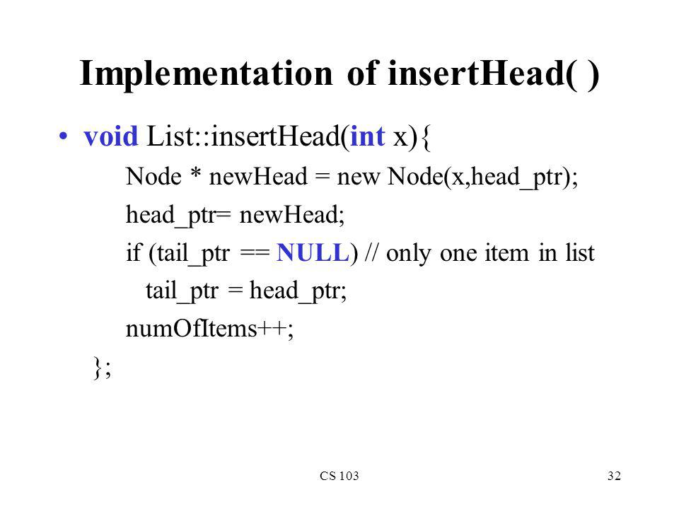 Implementation of insertHead( )