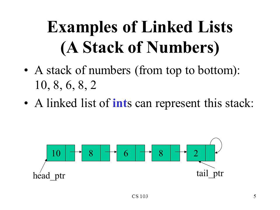 Examples of Linked Lists (A Stack of Numbers)