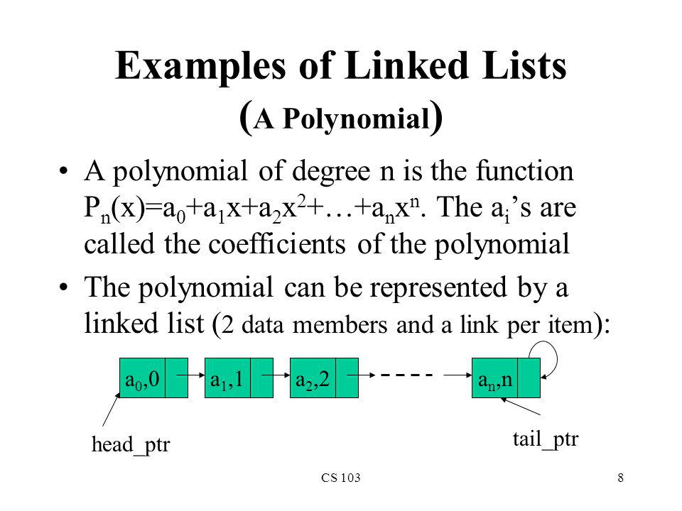 Examples of Linked Lists (A Polynomial)