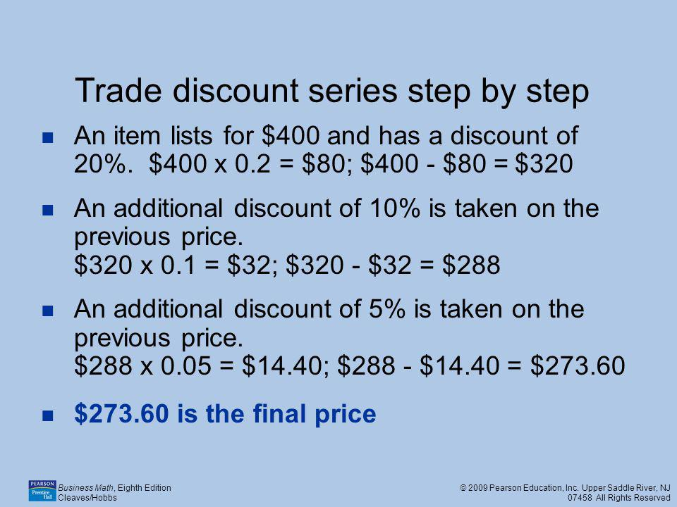 Trade discount series step by step