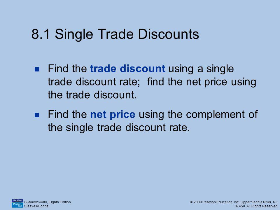 8.1 Single Trade Discounts