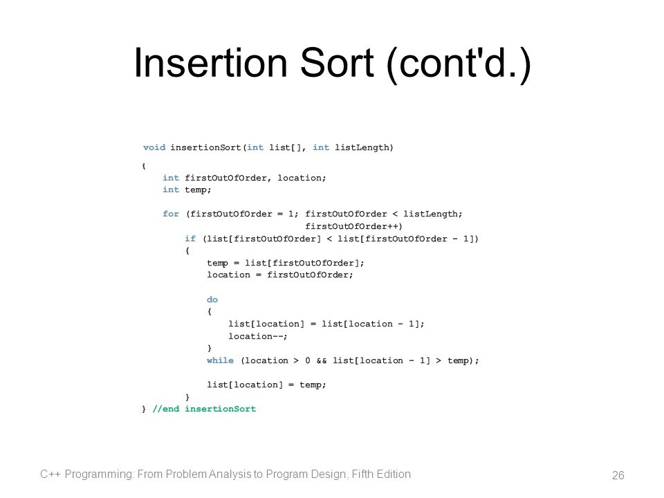 Insertion Sort (cont d.)