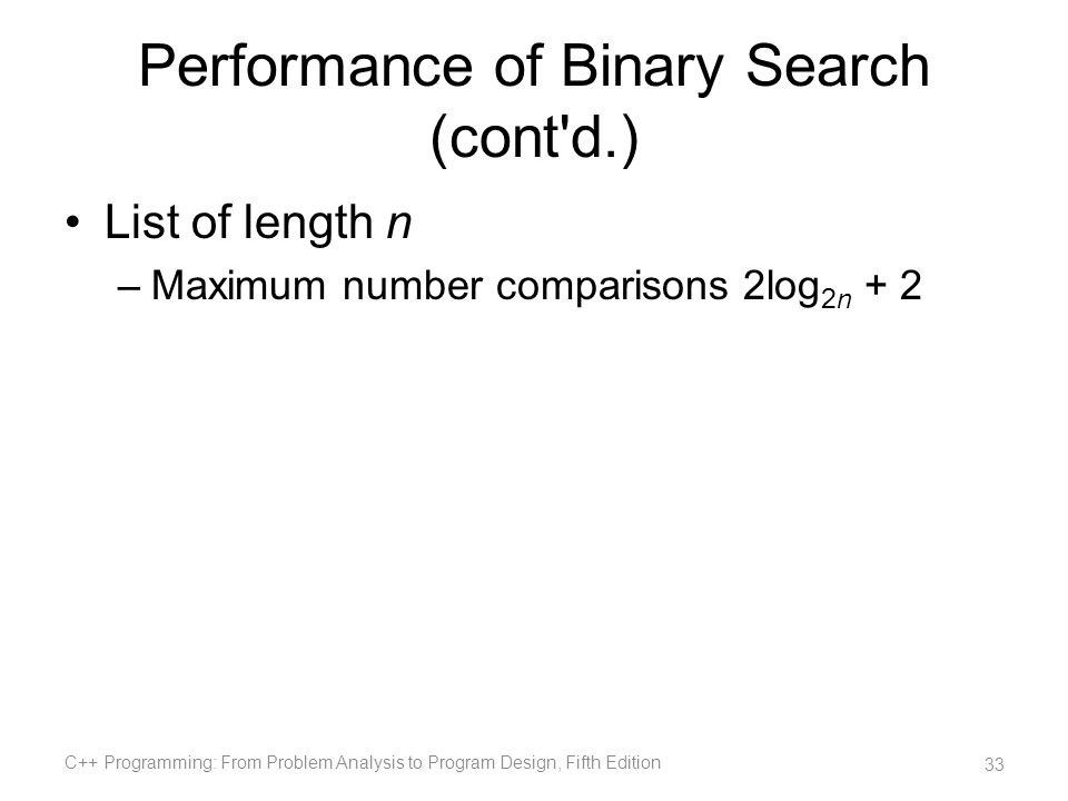 Performance of Binary Search (cont d.)
