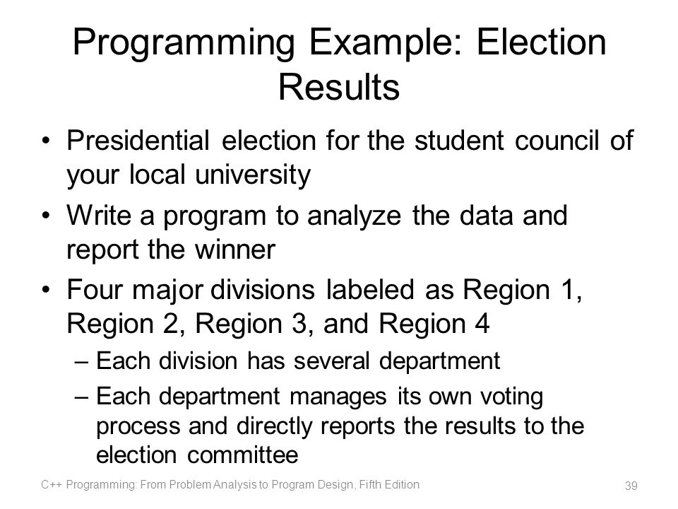 Programming Example: Election Results
