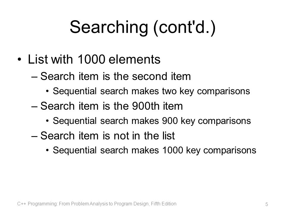 Searching (cont d.) List with 1000 elements
