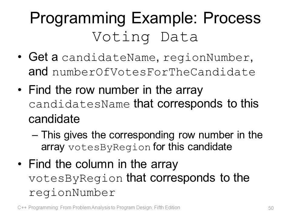 Programming Example: Process Voting Data